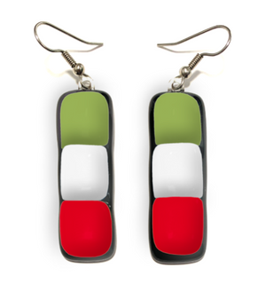 Dangle earrings with green white and red glass