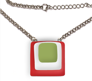 Womans necklace with layers of red white and green glass