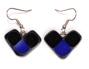 Dangle earrings for women with wing shape  in black and blue glass
