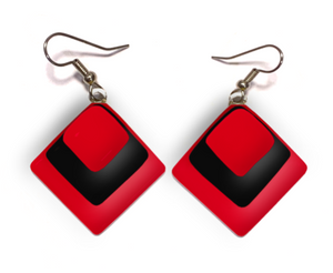 Diamond shaped womens earrings with layers of red black and red lglass