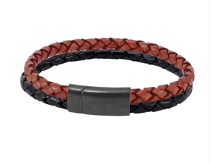 Leather bracelet for Georgia Bulldog fans from Red and Black cords and a black clasp