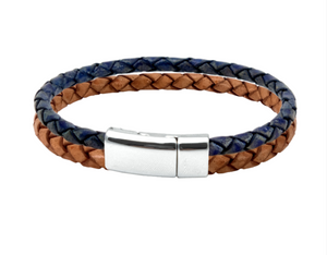 Leather bracelet with Florida Gator colors of orange and blue in a chrome clasp