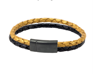 Leather bracelet with gold and black bolo cords in a black clasp