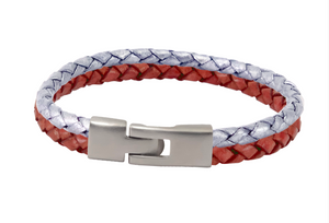 Alabama Crimson Tide leather bracelet with silver and red cord and stainless steel clasp