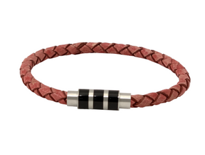 Leather bracelet in pink for breast cancer awareness