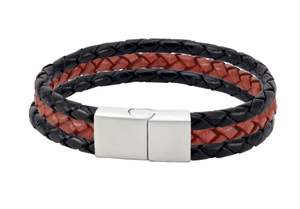 Leather bracelet with red bolo cord between 2 black bolo cords  and a stainless steel clasp