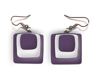 Womens earrings with square layers of purple and white glass