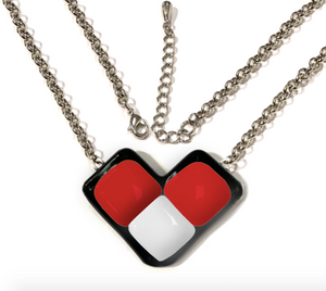 Womens necklace with wing shape in red and white Canada colors