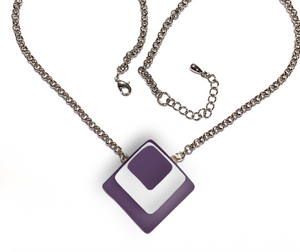 Womens diamond shaped necklace with layers of purple and white glass