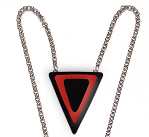 Womens necklace with a thin red line triangle on black stained glass