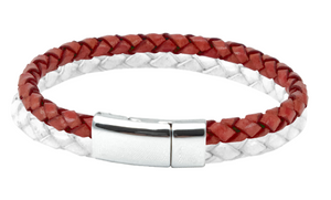 Leather bracelet with red and white bolo cord in a chrome clasp