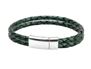 Leather bracelet with green and white bolo cords and a stainless steel clasp