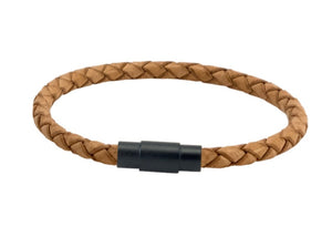 Leather bracelet with natural cord and a black steel clasp
