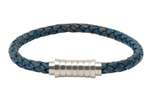 Leather bracelet with blue cord and a stainless steel clasp