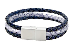 Leather bracelet with blue and silver bolo cords and a stainless steel clasp