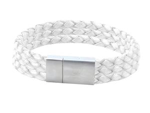 Leather bracelet with white cords and a stainless steel clasp