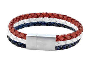 Leather bracelet with red white and blue cords in a stainless clasp