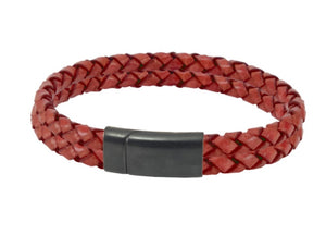 Leather bracelet with red cords and a black steel clasp