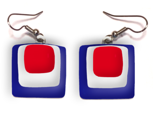 USA Fused Glass Earrings