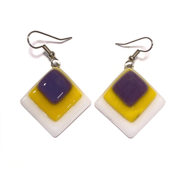 womens dangle earrings in diamond shape with purple yellow and white stained glass