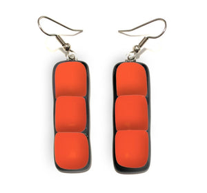 Womans earrings with bar shape orange dangles