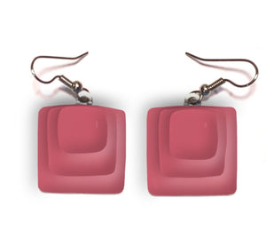 Womans earrings with square pink dangles