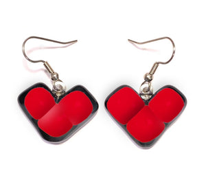 Womans earrings with wing shaped red dangles