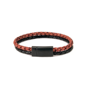 Leather bracelet with a red bolo cord and a black bolo cord and a black metal clasp