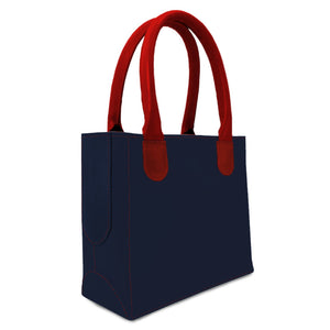 leather purse from navy blue leather and red handles