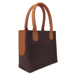 leather purse for women from dark brown and tan leather