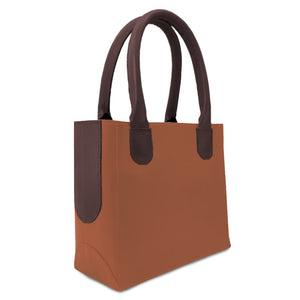 leather purse for women from tan and dark brown leather