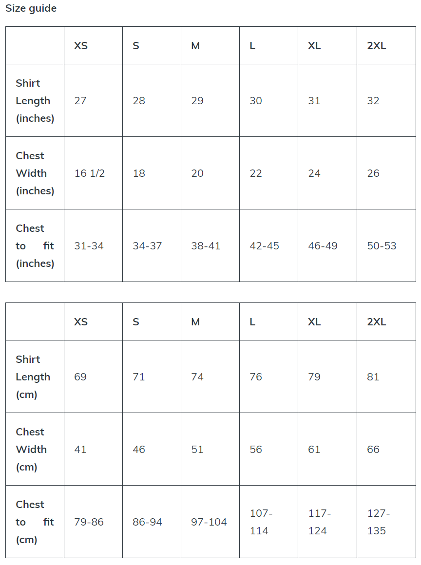 Long Sleeve Tee Size Guides