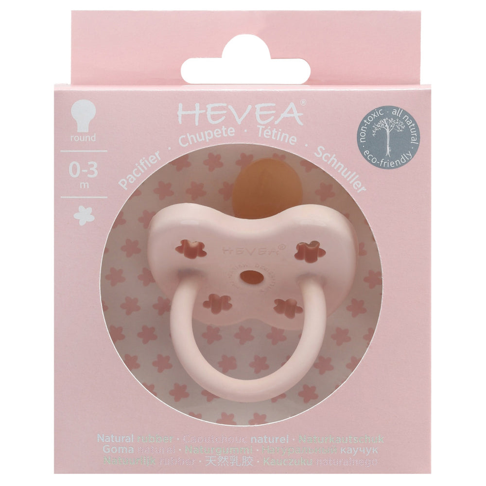 Hevea Natural Rubber Orthodontic Pacifier - Powder Pink 0-3m