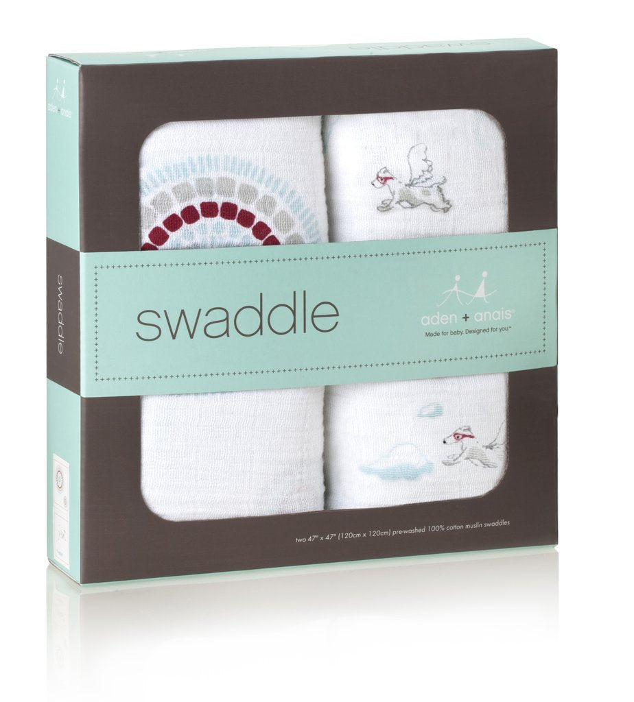 Classic Swaddle Muslin Wrap | Flying Dogs & Medallions