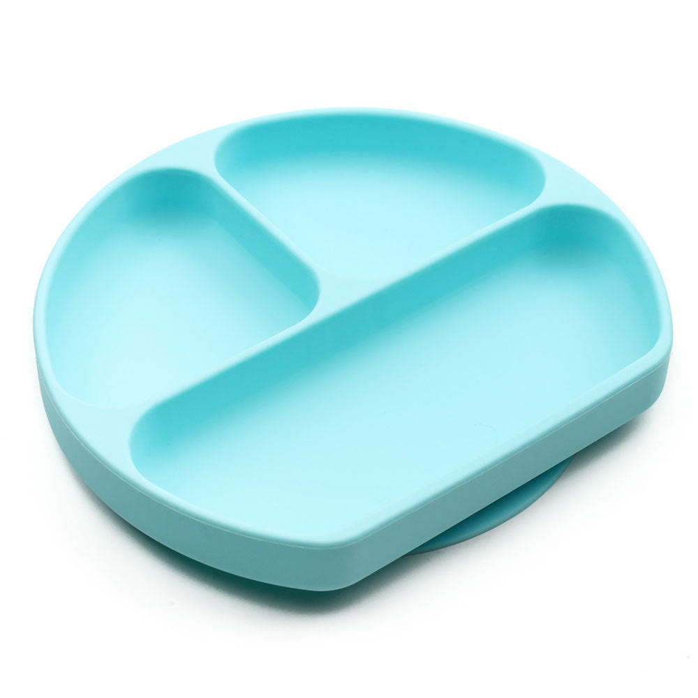 Bumkins Silicone Grip Dish Light Blue