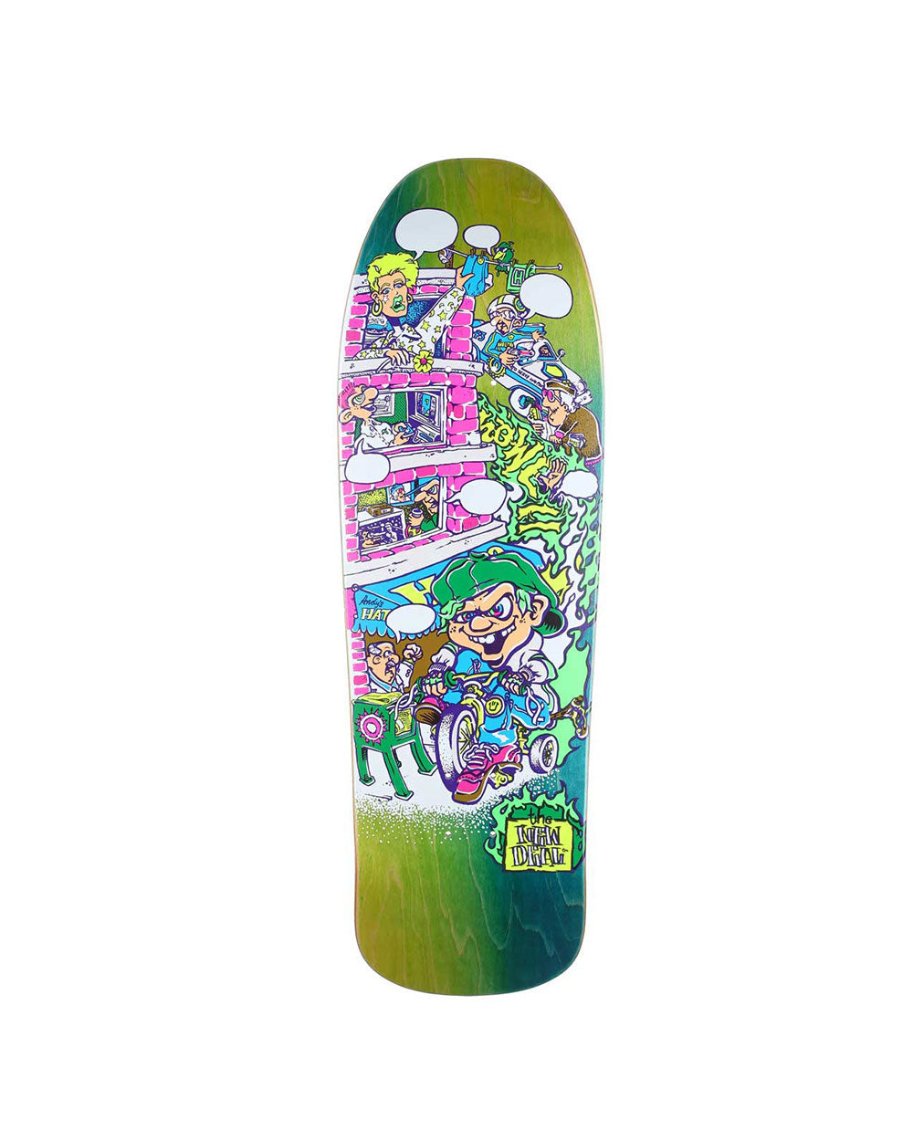 New Deal Howell Tricycle Kid Neon Skateboard Deck - Threadbox