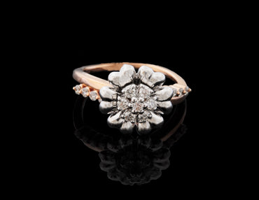 Diamond Rose Gold Flower design Ring in 18 Karat