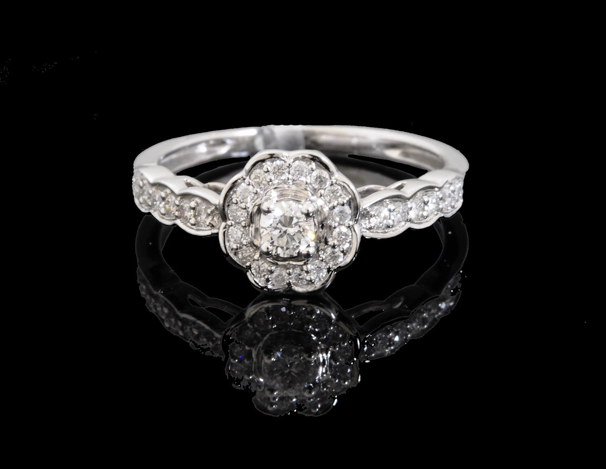 Diamond White Gold Flower Shape Ring in 18 Karat
