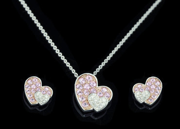 Diamond Pendant Set With Earring 14 Karat