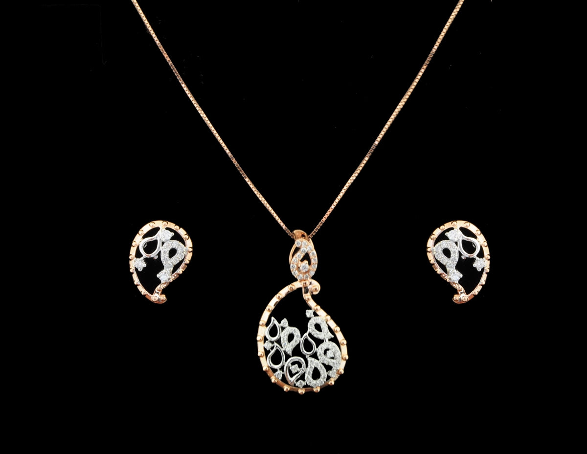Diamond Rose Fold Pendent Set With Earrings in 18 Karat
