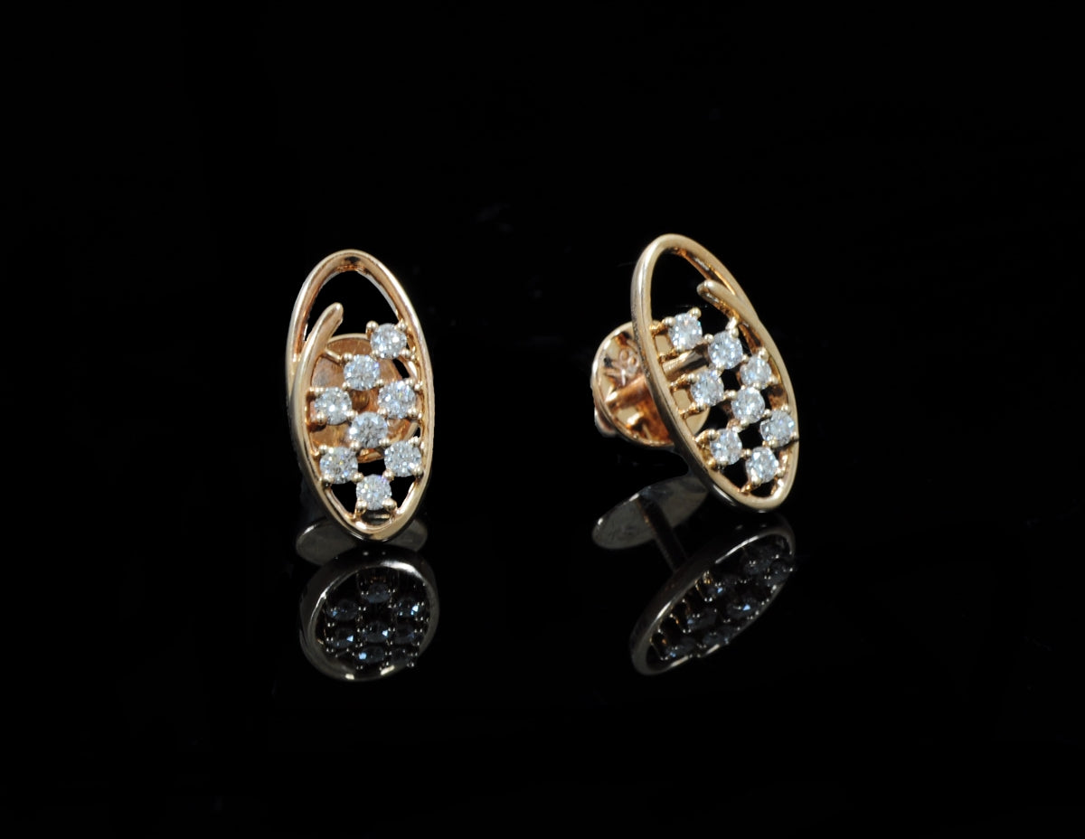 Diamond Rose Gold Earrings 18 Karat