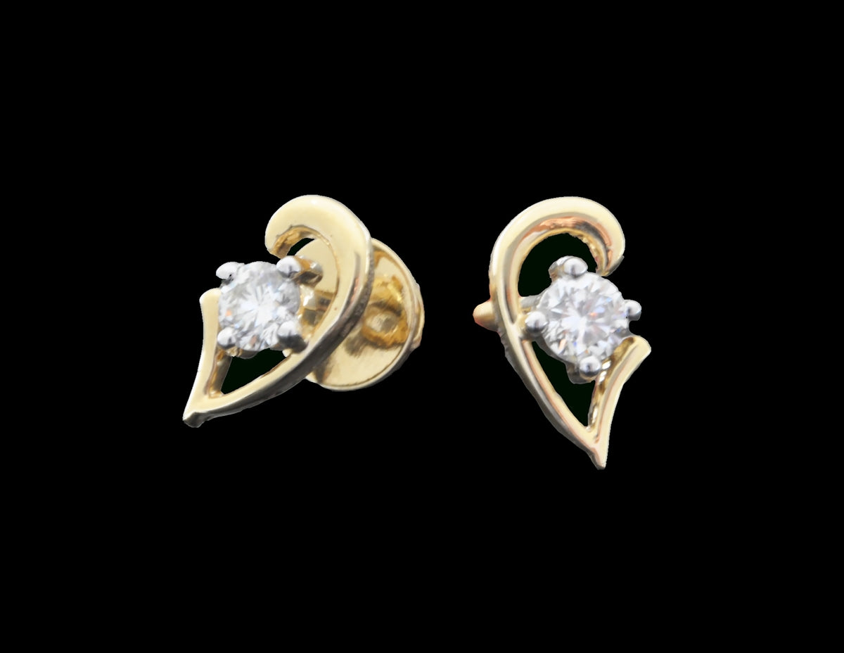 Diamond Gold Stud Earrings 18 Karat