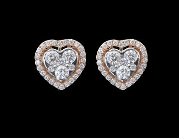 Diamond Gold Heart Earrings 18 Karat