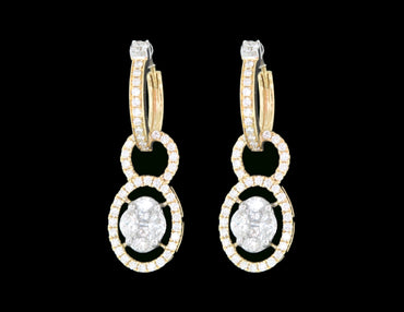 Diamond Gold Hoop Earrings 18 Karat