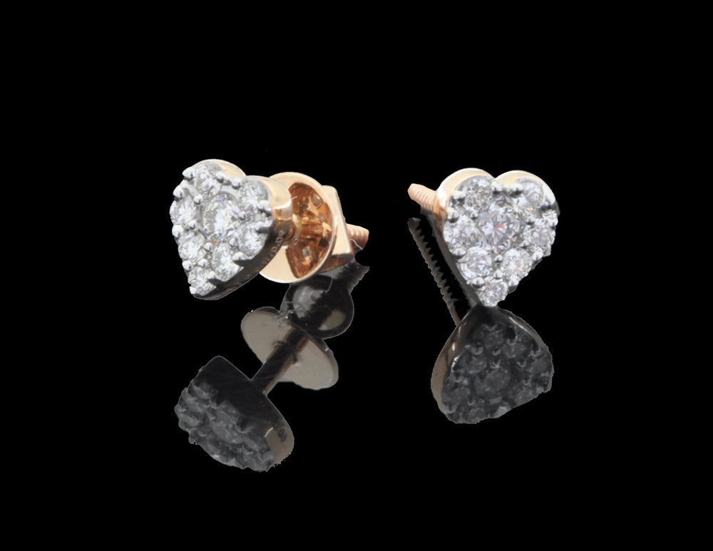 Diamond Rose Gold Heart Earrings 18 Karat