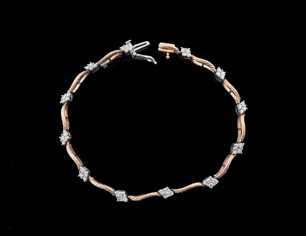 Diamond Rose Gold Bracelet 14 Karat