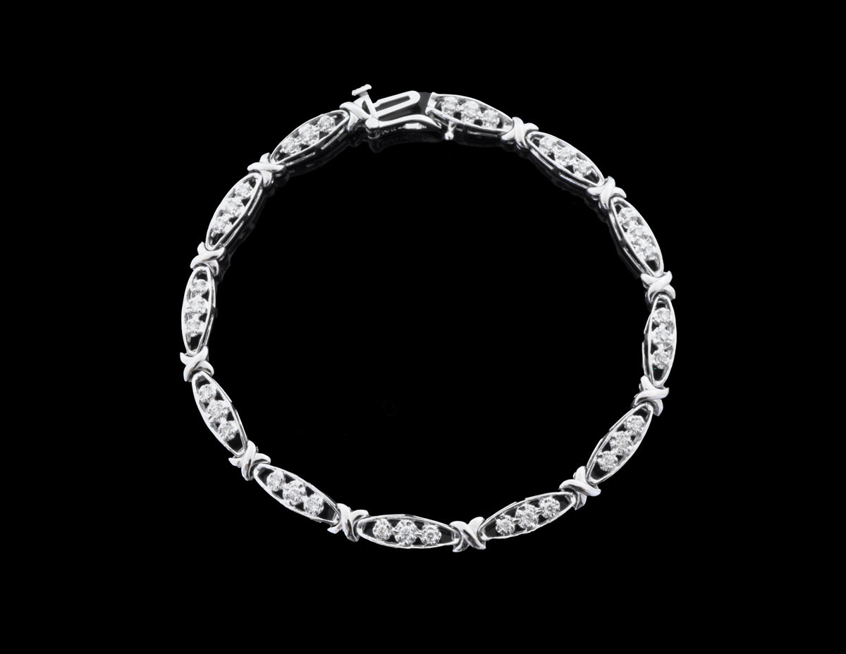 Diamond White Gold Bracelet 14 Karat