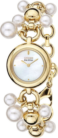 Citizen EW9022-55D Ladies Watch Gold Tone Catena with Jewelry Ropes with Swarovski Pearls and Beads