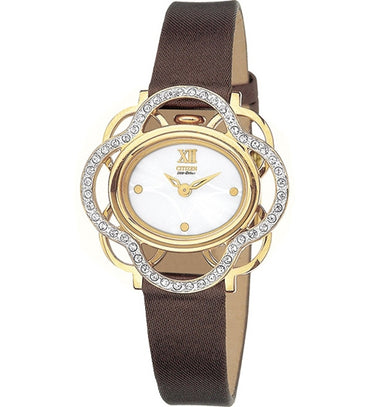 Citizen Women's Watch Gold Tone Lobella Crystal Flower White Dial Leather Strap EW8972-01A