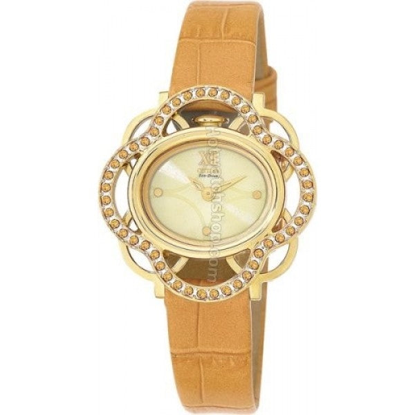 Citizen Women's Watch Lobella Yellow Crystal Flower Leather Strap EW8973-08P